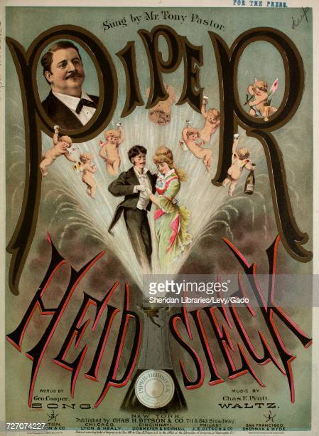 Sheet music cover image of the song 'Piper Heidsieck', with original authorship notes reading 'Words by Geo Cooper Song Music by Chas E Pratt',...