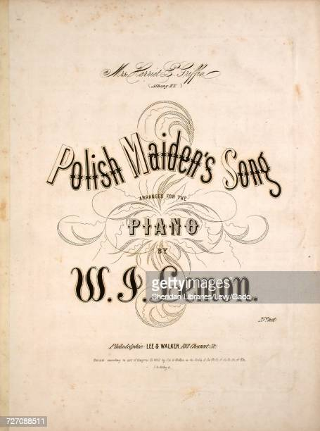 Sheet music cover image of the song 'Polish Maiden's Song' with original authorship notes reading 'Arranged for the Piano by WJ Lemon' United States...