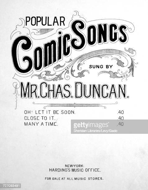 Sheet music cover image of the song 'Popular Comic Songs' with original authorship notes reading 'Words by Arthur Corney and Chrles Duncan Arranged...
