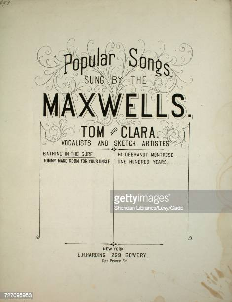 Sheet music cover image of the song 'Popular Songs Sung by the Maxwells Tom and Clara Vocalists and Sketch Artistes Bathing in the Surf' with...