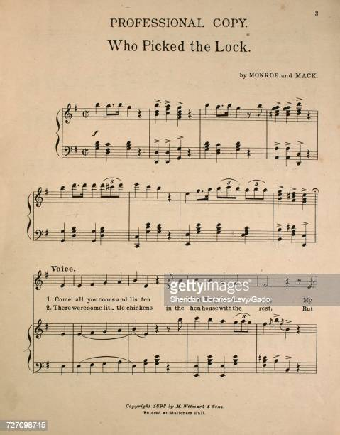 Sheet music cover image of the song 'Professional Copy Who Picked the Lock' with original authorship notes reading 'by Monroe and Mack' 1893 The...