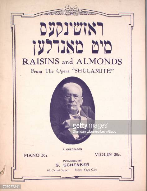 Sheet music cover image of the song 'Raisins and Almonds ' with original authorship notes reading 'Arr by AR Zagler' United States 1900 The publisher...