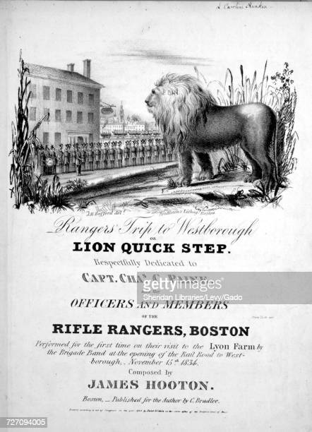 Sheet music cover image of the song 'Rangers' Trip to Westborough or Lion Quick Step' with original authorship notes reading 'Composed by James...