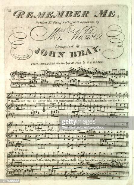 Sheet music cover image of the song 'Remember Me' with original authorship notes reading 'Written by Mrs Wilmot Composed by John Bray' United States...