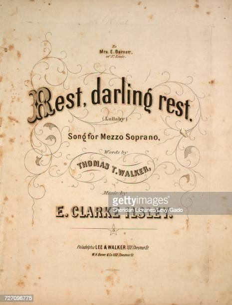 Sheet music cover image of the song 'Rest Darling Rest Song for Mezzo Soprano' with original authorship notes reading 'Words by Thomas T Walker Music...