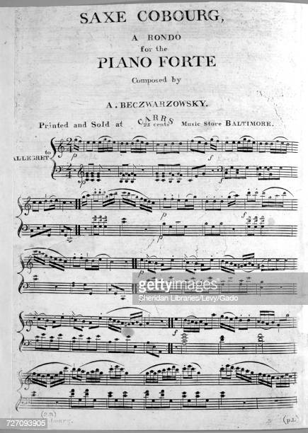 Sheet music cover image of the song 'saxe Cobourg A Rondo for the Piano Forte' with original authorship notes reading 'Composed by A Beczwarzowsky'...