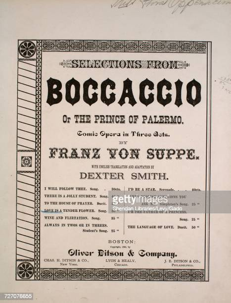 Sheet music cover image of the song 'selections From Boccaccio or The Prince of Palermo Love is a Tender Flower' with original authorship notes...