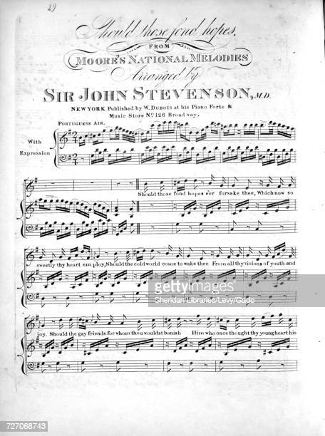 Sheet music cover image of the song 'should Those Fond Hopes From Moore's National Melodies' with original authorship notes reading 'Arranged by Sir...