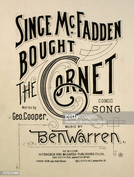 Sheet music cover image of the song 'since McFadden Bought the Cornet Comic Song' with original authorship notes reading 'Words by Geo Cooper Music...