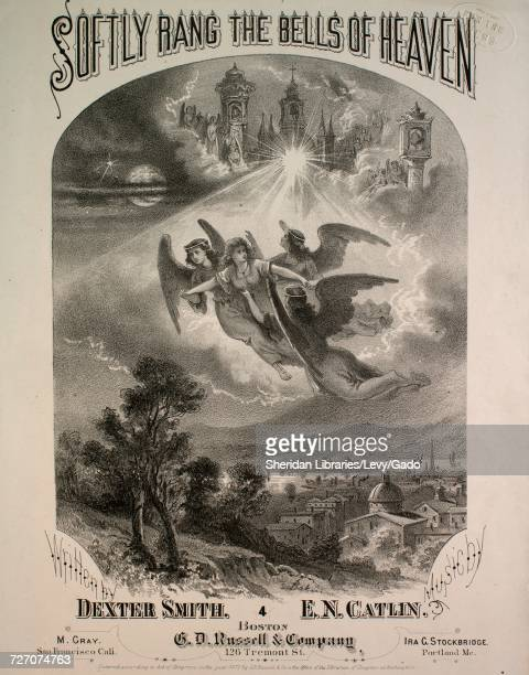 Sheet music cover image of the song 'softly Rang the Bells of Heaven', with original authorship notes reading 'Written by Dexter Smith Music by EN...