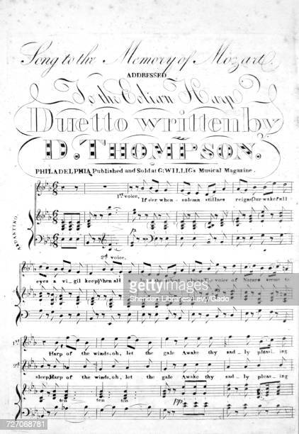 Sheet music cover image of the song 'song to the Memory of Mozart Addressed to the Eolian Harp' with original authorship notes reading 'duetto...