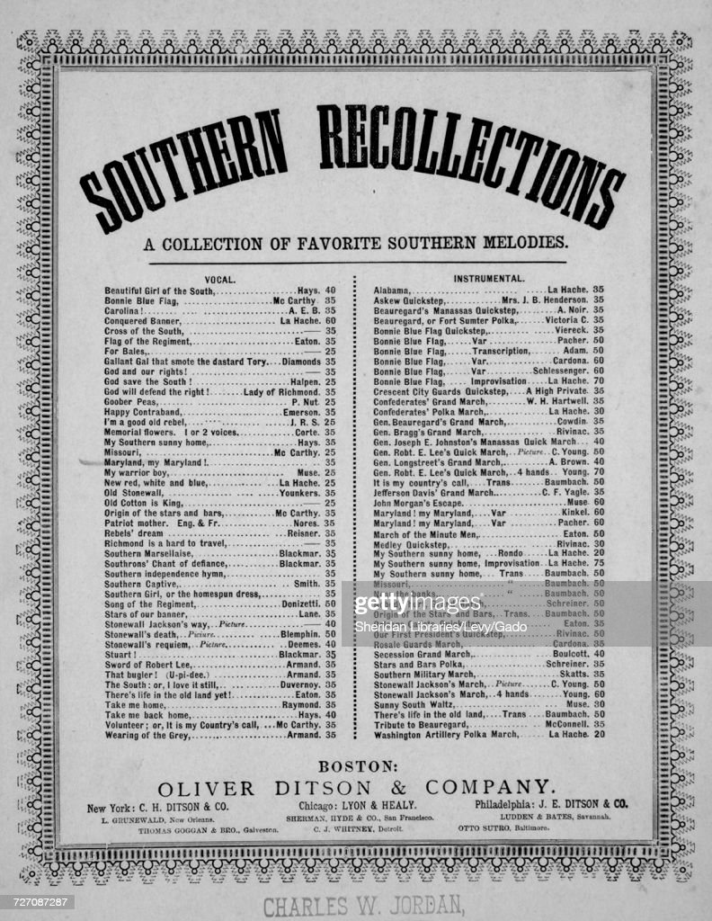Sheet music cover image of the song 'southern Recollections