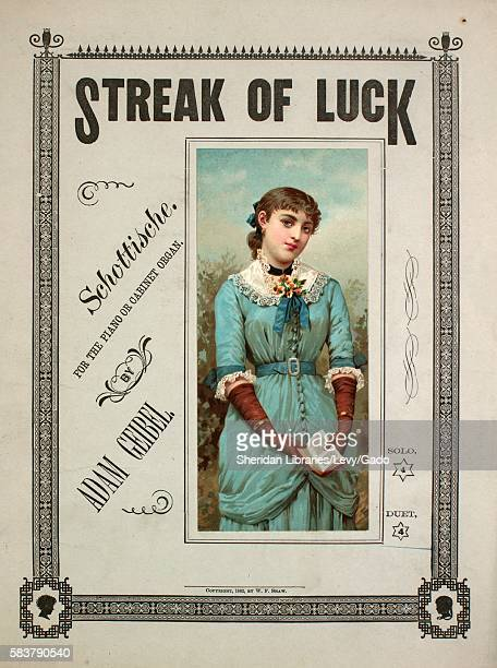 Sheet music cover image of the song 'Streak of Luck Schottische for the Piano or Cabinet Organ Duet' with original authorship notes reading 'By Adam...