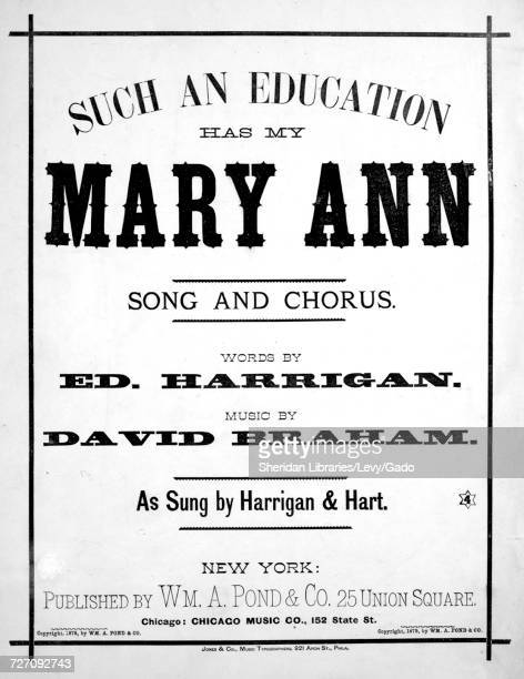 Sheet music cover image of the song 'such an Education Has My Mary Ann Song and Chorus' with original authorship notes reading 'Words by Edward...