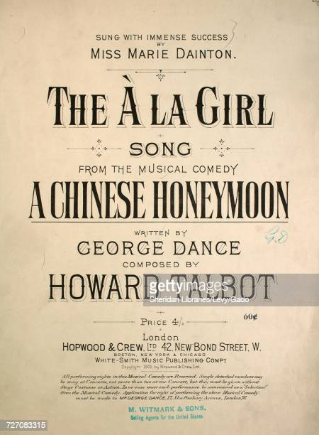 Sheet music cover image of the song 'the `A La Girl Song' with original authorship notes reading 'Written by George Dance Composed by Howard Talbot'...