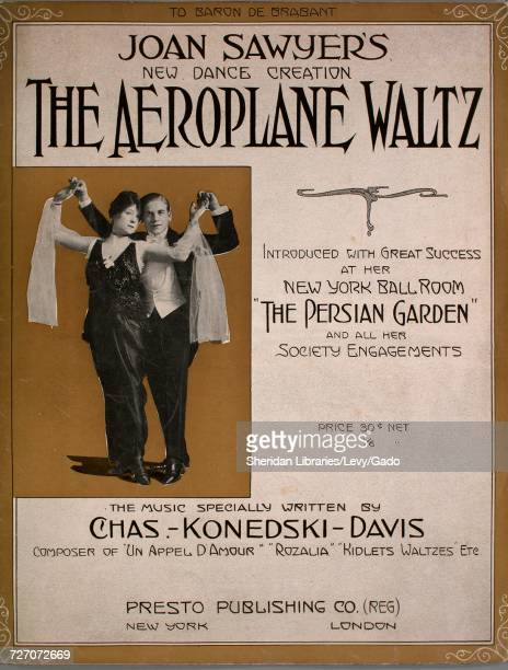 Sheet music cover image of the song 'the Aeroplane Waltz Joan Sawyer's New Dance Creation Joan Sawyer's Hesitation or Glide' with original authorship...