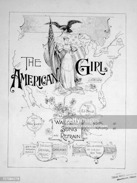 Sheet music cover image of the song 'the American Girl Waltz Song and Refrain' with original authorship notes reading 'Words by H Geo Schuette Music...