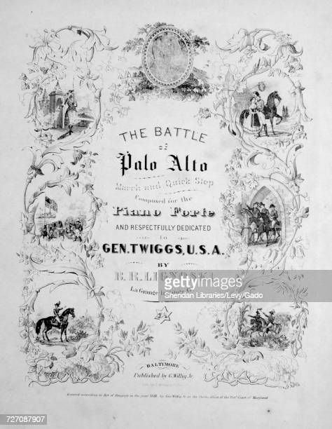 Sheet music cover image of the song 'the Battle of Palo Alto March and Quick Step' with original authorship notes reading 'Composed for the Piano...