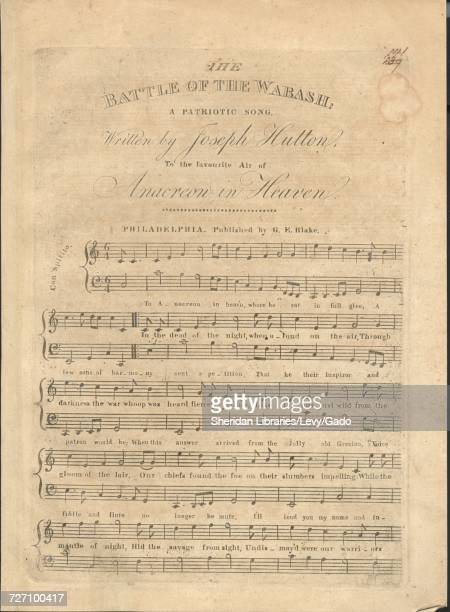 Sheet music cover image of the song 'the Battle of the Wabash A Patriotic Song' with original authorship notes reading 'Written by Joseph Hutton to...
