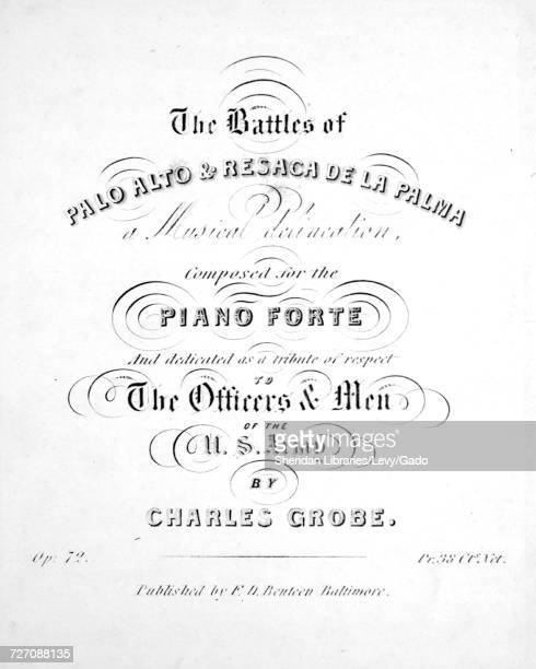 Sheet music cover image of the song 'the Battles of Palo Alto and Resaca de la Palma A Musical Delineation' with original authorship notes reading...