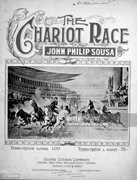 Sheet music cover image of the song 'the Chariot Race Transcription' with original authorship notes reading 'Arr for Pianoforte by Launce Knight...