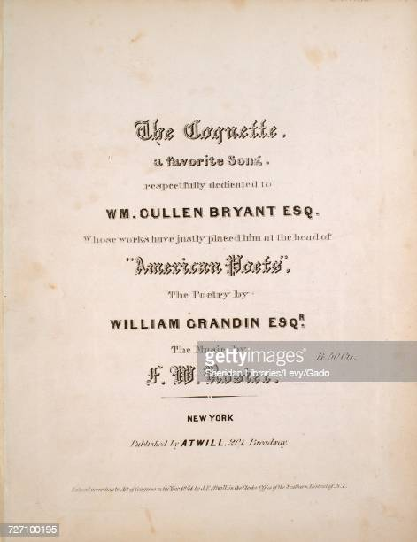 Sheet music cover image of the song 'the Coquette A Favorite Song' with original authorship notes reading 'the Poetry by William Grandin Esqr The...
