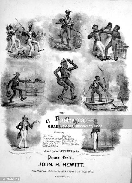 Sheet music cover image of the song 'the Crow Quadrilles Jim Crow Sich a Gittin Up Stairs Sittin on a Rail Clare de Kitchin Bone Squash Diabolo' with...