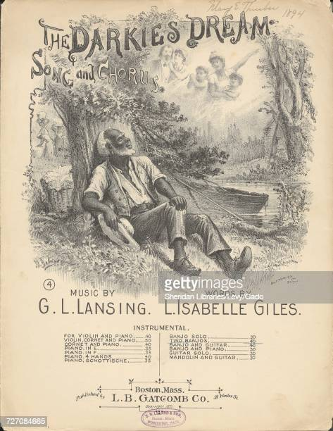 Sheet music cover image of the song 'the Darkie's Dream Song and Chorus' with original authorship notes reading 'music by G L Lansing Words by L...