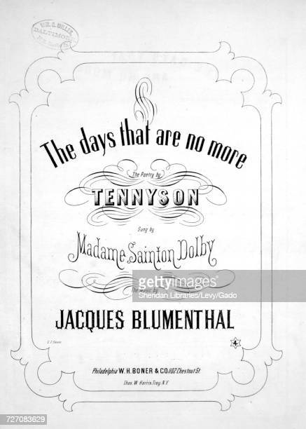 Sheet music cover image of the song 'the Days That Are No More' with original authorship notes reading 'the Poetry by Tennyson The Music by Jacques...