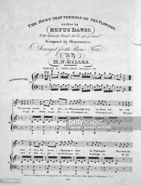 Sheet music cover image of the song ' The Dews That Tremble on the Flowers Les Deuxieme et Troisieme Couplets Avec Variations' with original...
