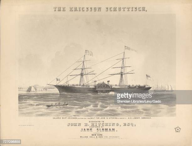 Sheet music cover image of the song 'the Ericsson Schottisch' with original authorship notes reading 'Composed by Jane Sloman' United States 1853 The...