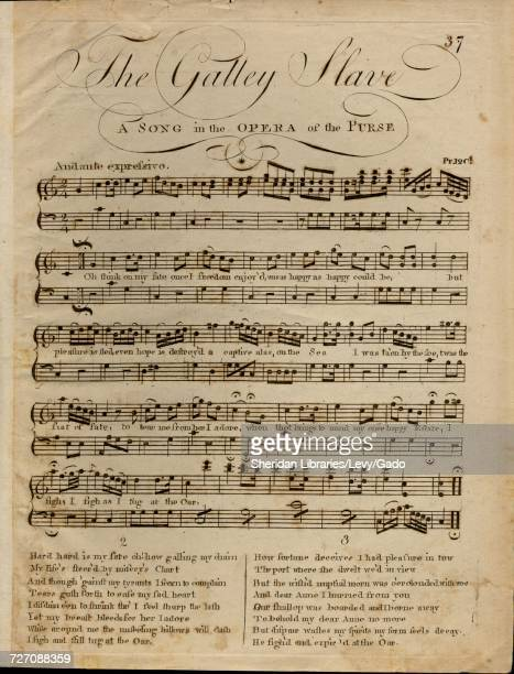 Sheet music cover image of the song 'the Galley Slave A Song in the Opera of The Purse' with original authorship notes reading 'na' 1900 The...