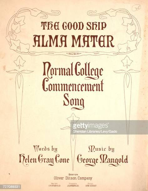 Sheet music cover image of the song 'the Good Ship Alma Mater Normal College Commencement Song' with original authorship notes reading 'Words by...
