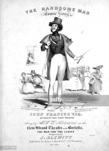 Sheet music cover image of the song 'the Handsome Man Comic Song' with original authorship notes reading 'Written by John Frances Esq Composed by J...