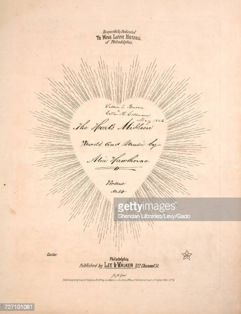 Sheet music cover image of the song 'the Heart's Mission Ballad' with original authorship notes reading 'Words and Music by Alice Hawthorne' United...