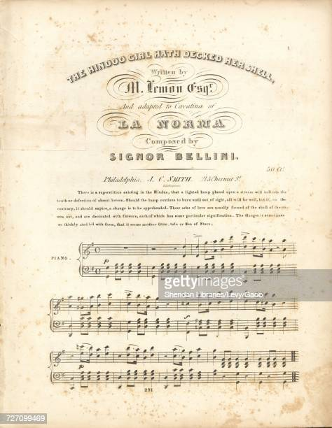 Sheet music cover image of the song 'the Hindoo Girl Hath Decked Her Shell' with original authorship notes reading 'Written by M Lemon Esqr And...