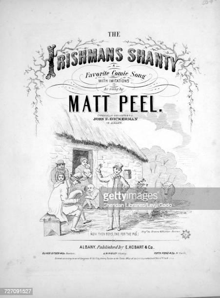 Sheet music cover image of the song 'the Irishmans Shanty A Favorite Comic Song With Imitations' with original authorship notes reading 'na' 1859 The...