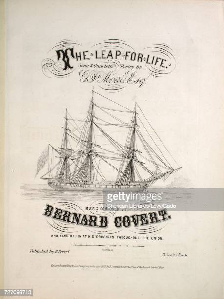 Sheet music cover image of the song 'the Leap For Life Song and Quartette' with original authorship notes reading 'Poetry by GP Morris Esq Music...