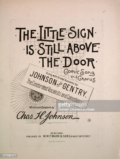 Sheet music cover image of the song 'the Little Sign is Still Above the Door Comic Song and Chorus' with original authorship notes reading 'Written...