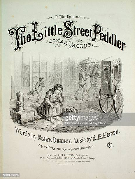Sheet music cover image of the song 'The Little Street Peddler Song Chorus' with original authorship notes reading 'Words by Frank Dumont Music by LE...