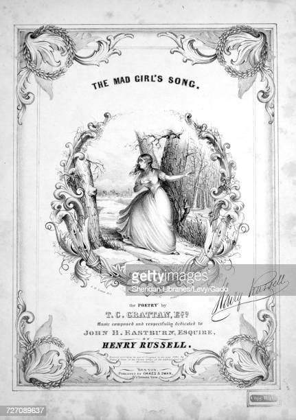 Sheet music cover image of the song 'the Mad Girl's Song' with original authorship notes reading 'the Poetry by TC Grattan Esq Music Composed by...