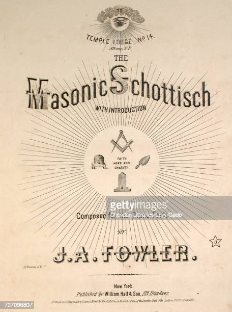 Sheet music cover image of the song 'the Masonic Schottisch With Introduction' with original authorship notes reading 'Composed for the Piano Forte...