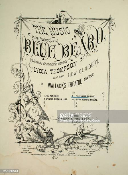 Sheet music cover image of the song 'the Music in the Burlesque of Blue Bears No 2 Dreaming by Night March and Chorus' with original authorship notes...