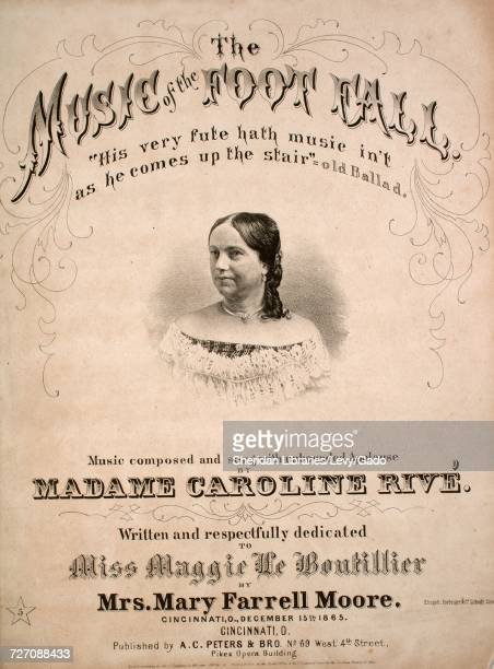 Sheet music cover image of the song 'the Music of the Foot Fall' with original authorship notes reading 'music Composed by Madame Caroline Rive...