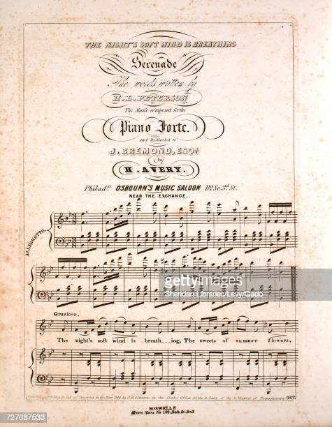 Sheet music cover image of the song 'the Night's Soft Wind is Breathing Serenade' with original authorship notes reading 'the Words Written by HL...