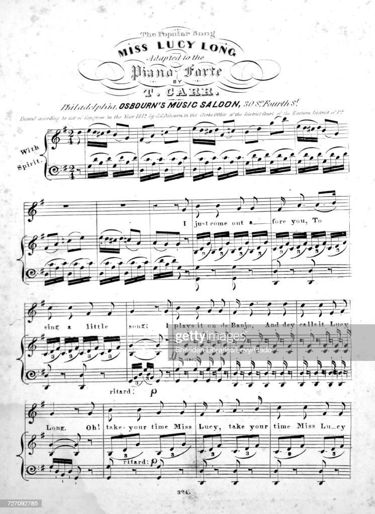 Piano piano sheet music for popular songs : The Popular Song Miss Lucy Long Pictures | Getty Images