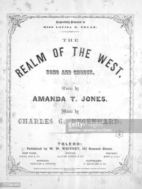 Sheet music cover image of the song 'the Realm of the West Song and Chorus' with original authorship notes reading 'Words by Amanda T Jones Music by...