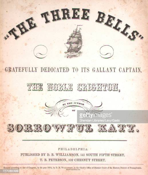 Sheet music cover image of the song 'the Three Bells 3d Edition' with original authorship notes reading 'Words by Ellis Strand Music by S Shore'...