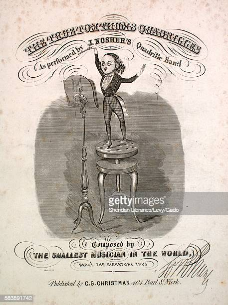 Sheet music cover image of the song 'The True Tom Thumb Quadrilles' with original authorship notes reading 'Composed by The Smallest Musician in the...