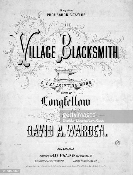 Sheet music cover image of the song 'the Village Blacksmith